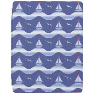 Sailboats On A Striped Sea Pattern iPad Cover