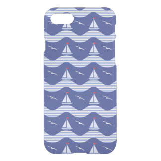 Sailboats On A Striped Sea Pattern iPhone 7 Case