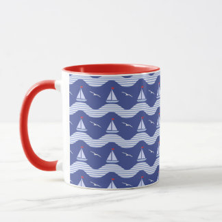 Sailboats On A Striped Sea Pattern Mug