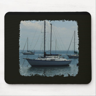 Sailboats on Black Mouse Pad