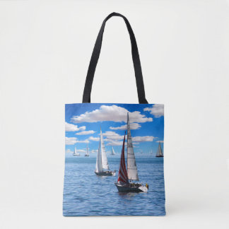 Sailboats on Blue/Customizable Photo Template Tote Bag