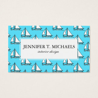 Sailboats On Blue Sea Pattern Business Card