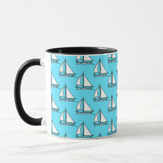Sailboats On Blue Sea Pattern Mug