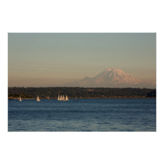 Sailboats On Lake Washington, With Mercer Island Poster