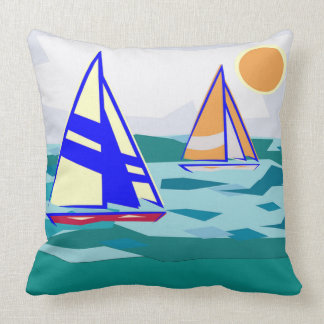 Sailboats on Square Throw Pillow