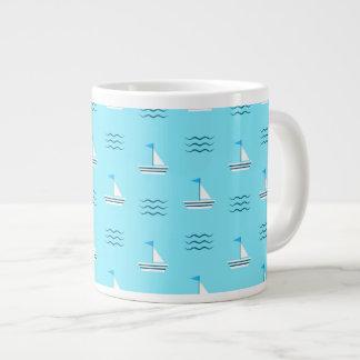 Sailboats On The Blue Sea Pattern Giant Coffee Mug
