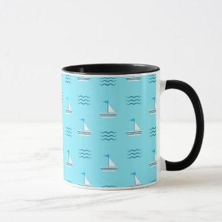 Sailboats On The Blue Sea Pattern Mug