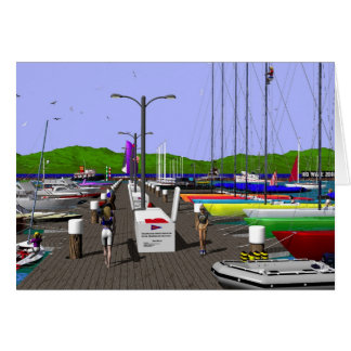 Sailboats - on the docks greeting card