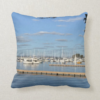 Sailboats on the River Throw Pillow