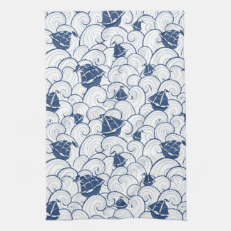 Sailboats On The Sea Pattern Kitchen Towel