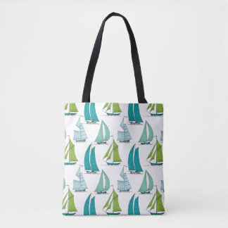 Sailboats On The Water Pattern Tote Bag