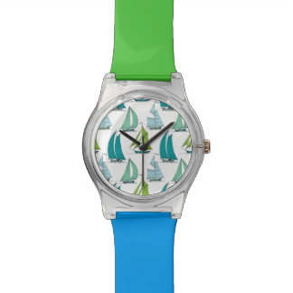 Sailboats On The Water Pattern Wrist Watch