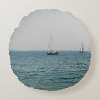 Sailboats Round Pillow