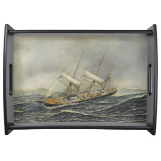 Sailboats Ships Sailing Ocean Harbor Serving Tray