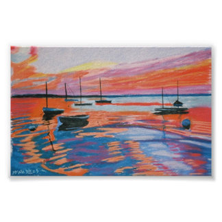 sailboats & sunset poster