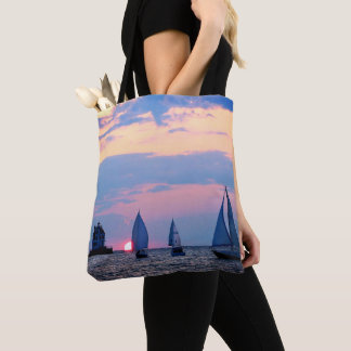 Sailboats Sunset Tote Bag