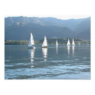 Sailboats, Wanaka, Southern Alps, New Zealand Photographic Print