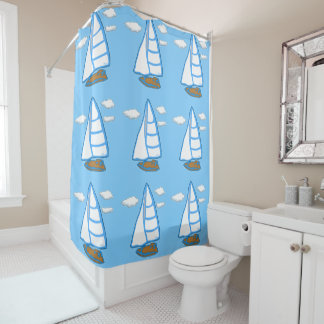 Sailboats with Clouds Light Blue Shower Curtain