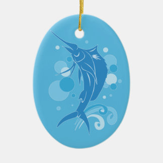 Sailfish Ceramic Oval Ornament