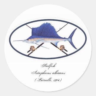 Sailfish decal classic round sticker