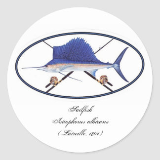 Sailfish decal round sticker