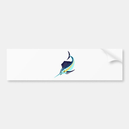 sailfish diving down isolated on white bumper stickers