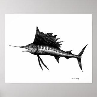 Sailfish ink pen drawing art poster