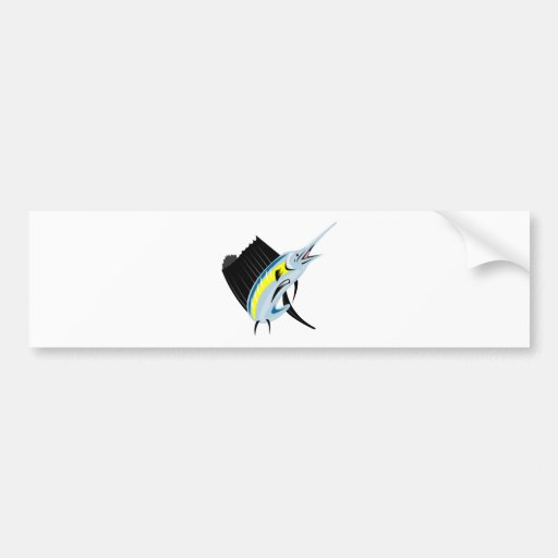 sailfish jumping front view isolated on white bumper stickers