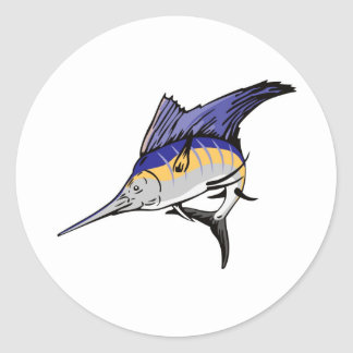 sailfish jumping front view isolated on white classic round sticker