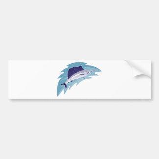 sailfish jumping retro style bumper sticker