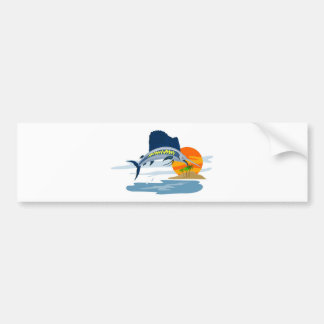 sailfish jumping side with island and sun bumper sticker