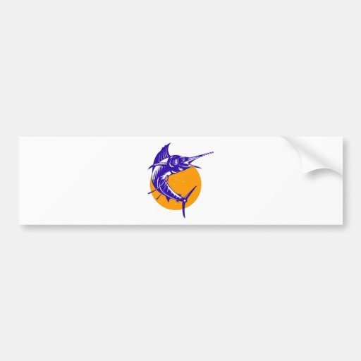 sailfish jumping with sun isolated on white bumper sticker