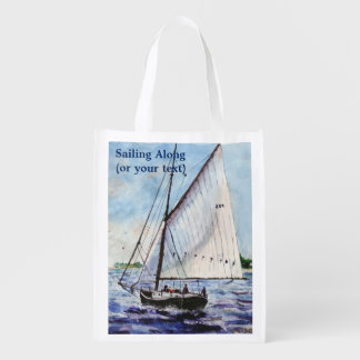 Sailing Along Fine Art Sailboats Watercolor Grocery Bags