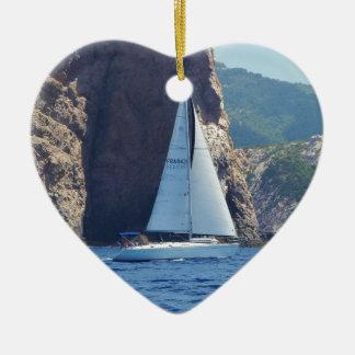 Sailing Along The Coast Of Sardinia Ceramic Ornament