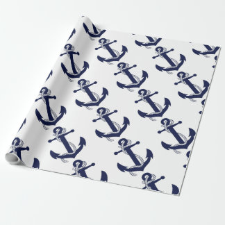 Sailing Anchor Navy Wrapping Paper