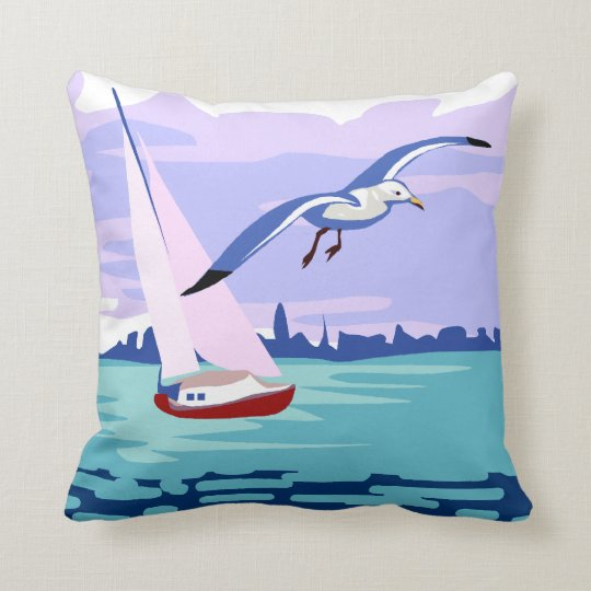 Sailing Artwork Throw Pillow