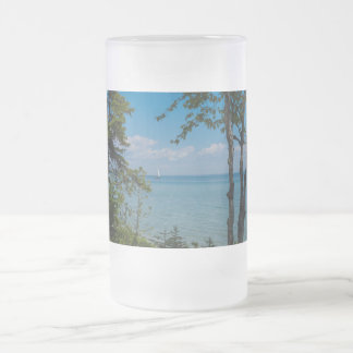 Sailing At Mackinac Frosted Glass Beer Mug