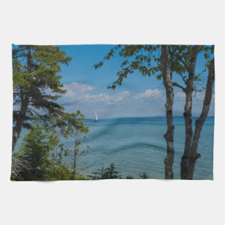 Sailing At Mackinac Kitchen Towel