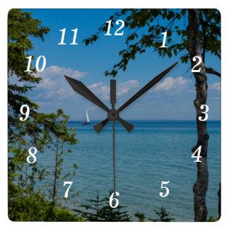 Sailing At Mackinac Square Wall Clock