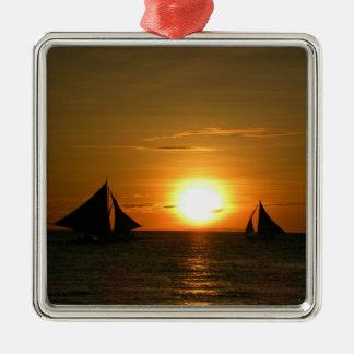 Sailing at Sunset Metal Ornament
