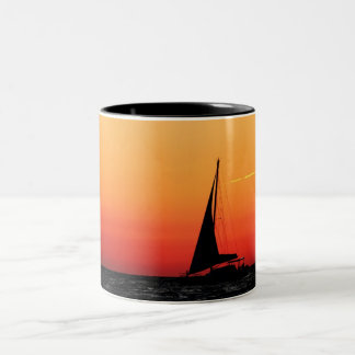 Sailing at Sunset Two-Tone Coffee Mug