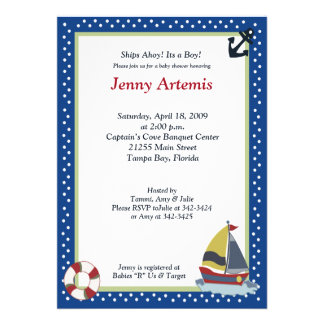 Sailing Away Navy Blue 5x7 Baby Shower Invitation