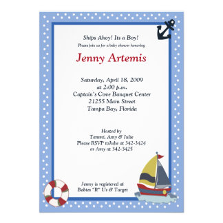 Sailing Away Ocean Blue 5x7 Baby Shower Invitation