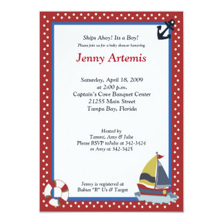 "Sailing Away Sailboat Nautical 5x7 Baby Shower 5"" X 7"" Invitation Card"