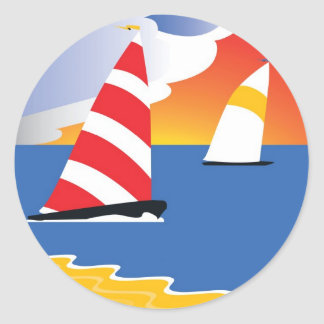 Sailing Before the Wind Classic Round Sticker