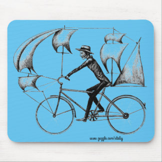 Sailing biker fun cool ink drawing art mouse pad