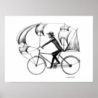 Sailing biker ink pen drawing art poster