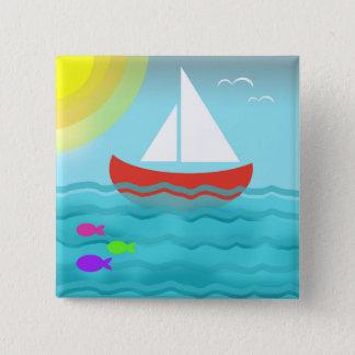 Sailing Blue Sea Cartoon Summer Navy Nautical Chic 2 Inch Square Button