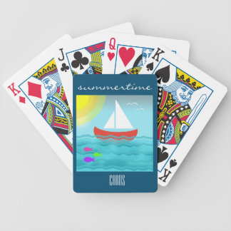Sailing Blue Sea Cartoon Summer Navy Nautical Chic Bicycle Playing Cards