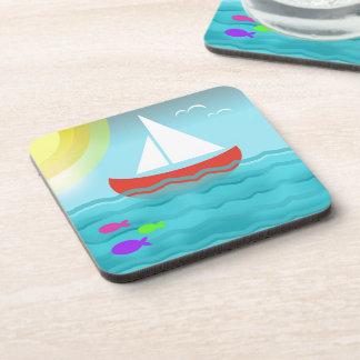 Sailing Blue Sea Cartoon Summer Navy Nautical Chic Coaster